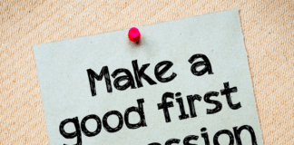 post it with make a good first impression written on it