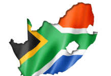 Map of South Africa with the South African flag over it for proudly South African beauty brands