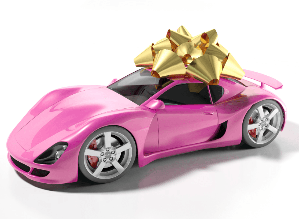 a sports car wrapped up with a gold bow for the most expensive baby and children products