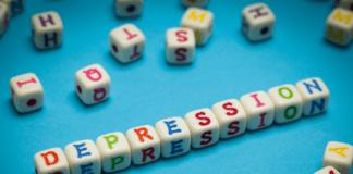Apostnatal depression: alphabet blocks spelling out the word depression