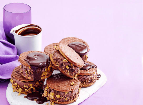 Chocolate honeycomb ice-cream sandwiches recipe