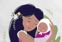 Illustration of a mother holding her baby Natura