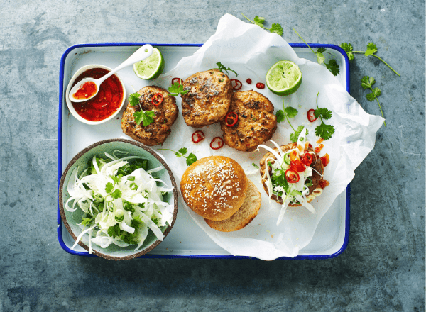 Miso pork burgers with homemade coleslaw