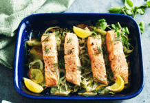 Potato and salmon tray bake recipe