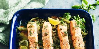 Potato and salmon tray bake recipe