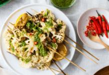 Cauliflower skewers with pesto princess drizzle recipe