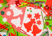paper pencils and scissors for Christmas arts and crafts for kids