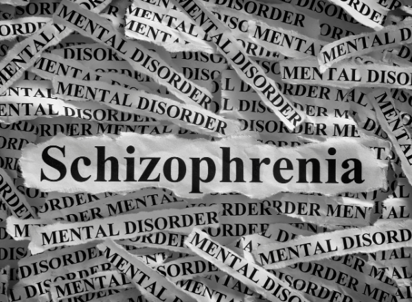 black and white newspaper clippings with the word schizophrenia