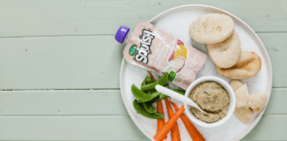 recipe for bean dip and pita bread made with squish baby food pouches