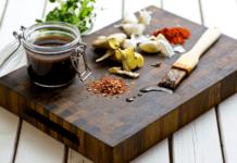 braai marinade ingredients on a wooden chopping board