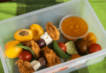 lunchbox idea for kids chicken meatball skewers with salad