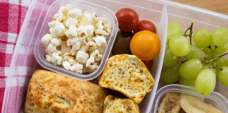 lunchbox idea mini cheese chive bread loaves with popcorn and fruit