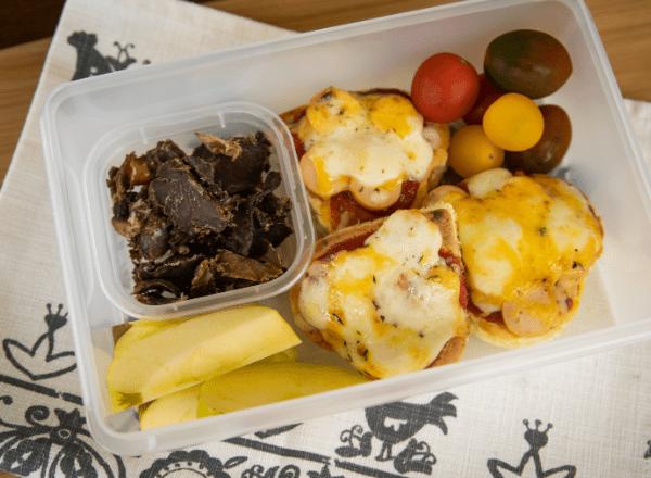 lunchbox idea for kids mini pizzas made from leftover flapjacks