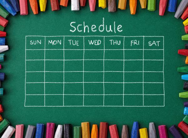 family schedule on chalkboard