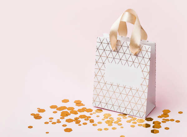 gift bag with glitter