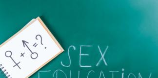 sex education written on a chalkboard