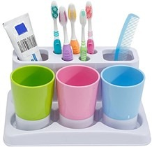 how to get your toddler to brush their teeth: colourful basin storage items