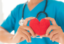 lilaq app brings trusted healthcare to your home with at home nurse visits: nurse holding a stethoscope and a heart