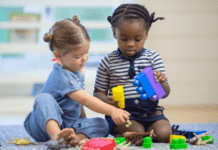 children playing together: activities to keep kids busy at home that are also good for their development