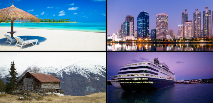 Lily Rose Collection select your ideal holiday: beach city break mountain escape cruise holiday
