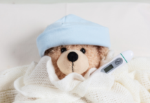 Panado pain and fever in children: teddy bear with a thermometer