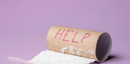 toilet roll with help written on it: causes and treatment of constipation during pregnancy